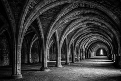 Fountains Abbey Cellary v2 (D600 Jim) Tags: architecture abbey ruins fountains blackandwhite mono monochrome yorkshire nikon d750 2470mm imageseen