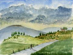 Sur la route (ybipbip) Tags: watercolor painting paint peinture watercolour acuarela pintura aquarell acquerello akvarell