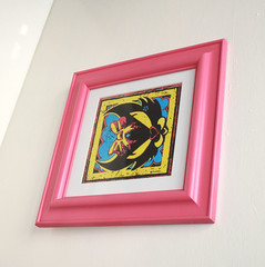 Black Faced Pretty Kitty In Hot Pink Frame (GezuntehMoid) Tags: pink cat blackcat print graffiti feline framedart cartoon picture multicoloured colourful prettykitty candypink bubblegumpink hotpinkframe moodymoggy angryfacecat