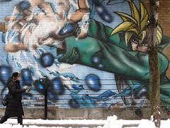 Beware the Manga (Alex L'aventurier,) Tags: street city winter urban snow canada cold tree art wall graffiti montral quebec montreal hiver manga pedestrian walker qubec neige rue mur arbre froid ville trottoir briques urbain murale piton