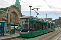 Helsinki (HKL) Variotram 213 by Helsinki railway teriminus on 18 Aug 2008 (A Scotson) Tags: finland helsinki forum tram railway streetcar terminus mannerheimintie hkl kaivokatu lowfloor helsinginrautatieasema localtransport variotram