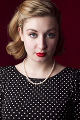 Madison (austinspace) Tags: portrait woman vintage studio necklace washington spokane retro blond 1950s blonde backdrop alienbees