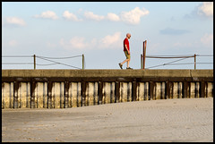Pier Layers (Andy Marfia) Tags: chicago man beach walking pier iso200 spring warm lakemichigan f8 hollywoodbeach 1400sec 1685mm d7000 baumy