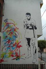 CASSIUS MARCELLUS CLAY JR (Assi-one) Tags: street art colors arte grafiti pra ring ali clay rua gong todos cassius boxe marcellus guantes pochoir schablonen callejero marciano foreman golpes chato roki mahamed narices assione guantono