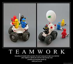 T E A M W O R K (halfbeak) Tags: poster lego space sciencefiction minifig teamwork motivational moc demotivational classicspace