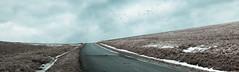 Road to the birds ... (mac.black) Tags: road schnee winter sky panorama snow ice clouds photoshop path hill himmel wolken trail eis weg week7 hgel zugvgel migratorybirds strase 52of2012