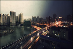 Day and Night (benjamin_heymann) Tags: china city light people urban streets cars love water sex night photoshop buildings river boat big flickr day driving shanghai you sony large transportation 28 trans alpha miss boke sureal edit