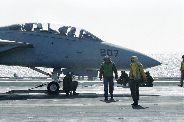Grumman F-14 Tomcat ready to be catapulted from the deck of the USS ENTERPRISE -  1984