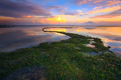 THE GUIDING LINE,,,, (ManButur PHOTOGRAPHY) Tags: ocean travel blue light sea sky bali cloud mountain green beach nature water sunrise canon indonesia landscape photography eos agua scenery aqua asia view filter nd usm efs 1022mm hitech sanur contras canonefs1022mmf3545usm polarize gnd f3545 450d agungmountain