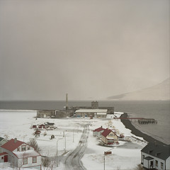 Hjalteyri (Tom Kondrat) Tags: road houses winter sea mountain snow 120 6x6 film port mediumformat town iceland factory ghost analogue pentaconsix kodakportra400nc hjalteyri