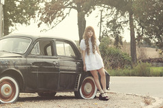 (yyellowbird) Tags: selfportrait girl car wisconsin vintage renault lolita cari