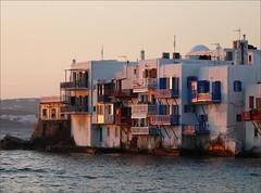 little venice (duqueıros) Tags: sunset island insel greece griechenland mykonos littlevenice balconys eveninglight balkone abendlicht kleinvenedig duqueiros