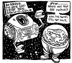 Brechtbug Comics 2676 (Brechtbug) Tags: new york 2001 city nyc art up look museum bug computer comics painting paper insect stars robot newspaper comic gallery kubrick space helmet cartoon picture astronaut bugs here robots again galaxy stanley killer comix frame bubble come hal why 1960s did odyssey scape without caption android 9000 2012 gadfly a i brechtbug