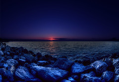 too late sunset (dtsortanidis) Tags: blue sunset red sea orange night canon reflections dark evening rocks waves colours darkness mark fisheye clear greece ii hour 5d late ef hdr dimitris patra dimitrios 815mm tsortanidis
