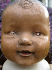 Dolls  - Creepy Carl 004 (badhesterprynne) Tags: baby broken smiling composition vintage toy happy scary sad sweet antique character fat rustic compo haunted creepy spooky misfit faded worn babydoll friendly weathered lonely aged etsy chubby cracked tlc discolored vintagedoll antiquedoll compositiondoll misfittoy characterdoll aquamarinedream toddlerdoll