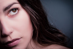 Half the distance (dawolf-) Tags: eye girl face canon hair eos close 7d half shoulder beautydish stobe strobist