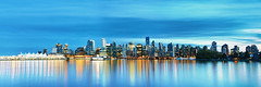Downtown Vancouver (boingyman.) Tags: panorama canada reflection vancouver buildings landscape cityscape bc stock panoramic getty bluehour gettyimage boingyman