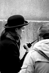 B&W (josephzohn | flickr) Tags: girls people blackandwhite walkietalkie svartvitt tjejer människor hatthat