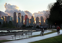 Vancouver City Skyline from Stanley Park (TOTORORO.RORO) Tags: city sunset canada color reflection tree bike silhouette skyline vancouver lens cycling mirror bc view britishcolumbia sony trail translucent stanleypark alpha f28 hdr slt ssm greatervancouver a55 1650mm sal1650