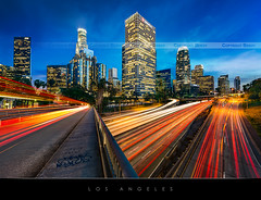 Los Angeles (Beboy_photographies) Tags: blue building losangeles los angeles mark district iii voiture hour 5d financial nuit hdr immeuble photographies beboy 5dmarkiii
