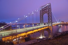 The George Washington Bridge on 3/4/2012 (mudpig) Tags: nyc newyorkcity longexposure bridge newyork sunrise geotagged dawn newjersey manhattan nj gothamist georgewashington hdr gwb fortlee georgewashingtonbridge washingtonheights lighttrail mudpig stevekelley stevenkelley