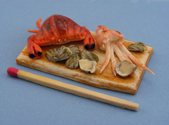 Seafood Board (Shay Aaron) Tags: food fish dinner miniature handmade salmon crab prawns mini clam gourmet polymerclay fimo tiny deli seafood oysters appetizer mussel scallop crustacean 12th 112 luxury lux platter preparation dollhouse petit oneinchscale shayaaron scaleoneinch