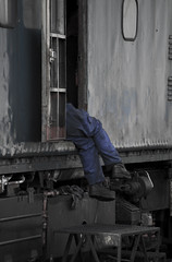 Dangling Feet (niklas iliffe) Tags: train railway overalls worker steamengine loughborough greatcentralrailway danglingfeet