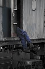 Dangling Feet (niklas iliffe) Tags: train railway overalls worker steamengine loughborough greatcentralrailway danglingfeet