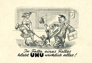 Werbeanzeige für UHU Alleskleber 1959