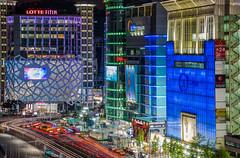 Dongdaemun (DMac 5D Mark II) Tags: city longexposure light building architecture modern night design cityscape traffic seoul intersection lighttrails bluehour southkorea futuristic cyberpunk ddp dongdaemundesignplaza