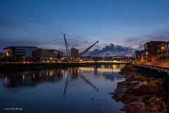 Blue hour along the Usk river (andyp178) Tags: longexposure bridge urban reflection river twilight dusk newport bluehour usk