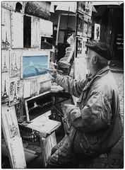 artist at Montmartre (Dale Michelsohn) Tags: leica travel blackandwhite paris france artist montmartre painter oil dlux4 dalemichelsohn parismay2016