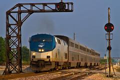 Northbound Eagle (tim_1522) Tags: ca railroad illinois pacific sub union rail il amtrak springfield passenger gmo cpl generalelectric icg subdivision superliner railfanning gulfmobileohio p42dc illinoiscentralgulf colorpositionlight chicagoalton