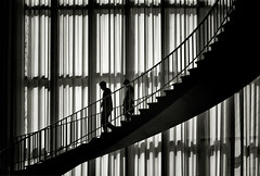 two (Katerina Atha) Tags: light people bw museum architecture geometry silhouettes