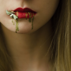 Diamonds and Toads (patrycjamarciniak) Tags: perrault diamonds jewellery conceptual gold golden fairytale dark creepy tale lips blonde