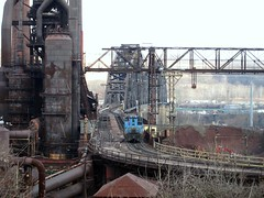 Wheeling Pitt Steel II (Fan-T) Tags: bridge ohio mill river belt high rust industrial pittsburgh steel line furnace blast wheeling steubenville switcher emd sw1500 stuebenville sw1200