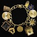 J20. Gold Charm Bracelet and Charms, Z & F