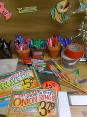 High Tech Desktop (misterbigidea) Tags: desktop signs art sign pen project chalk artist desk drawing joe oldschool messy traderjoes lettering joes chalkboard markers trader traderjoe sharpiemarkers