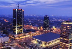 Warsaw at dusk (Qba from Poland) Tags: city light sunset sky urban streets building cars night clouds skyscraper buildings hotel office downtown skyscrapers sundown cloudy horizon perspective poland polska center fromabove railwaystation warsaw shoppingcenter citycenter hdr cloudscape warszawa qba pkin palackulturyinauki palaceofcultureandscience 5xp viewfrompalaceofcultureandscience qbafrompoland