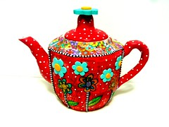 teapot with my new journal art technique (**mira pinki krispil-colors of life ***) Tags: sculpture art handmade journal fimo clay teapot pinki polymer millefiori     mirakris