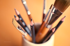 Old Friends (aaross) Tags: stilllife orange pencil pencils paint artist dof brush tools brushes ochre shallowdof 105mm d700 photogodfrey