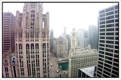 Foggy  Morning ~ Viewed from the Historic South Tower ~ Inter Continental Hotel Chicago ~ Chicago Il (Onasill ~ Bill Badzo - 60 Million Views - Thank Yo) Tags: chicago building london tower architecture hotel view miracle michigan south n historic il wrigley mile tribune intercontinental inter nrhp histrorical contiinental onasill