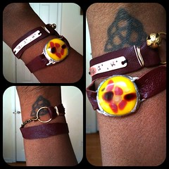 Wrap bracelet. Fused glass in yellow. Reclaimed burgundy leather (Janetics Ink) Tags: color art glass girl hoop colorful artist oneofakind awesome southcarolina funky charleston etsy brass janelle hulahooper bohemian chs fused jeweler fusedglass ballchain j16 iphoneography janetics janeticsink vermontaritst hoopswag