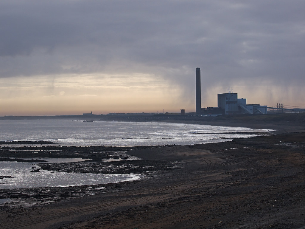 Lynemouth Power Station and Newbiggin Church