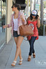 Frankie Sandford and Vanessa White of The Saturdays shopping in Beverly Hills. During the shopping trip, Frankie purchased a vintage Louis Vuitton Case and a gift for mum to be Una from Tutu Los Angeles, California