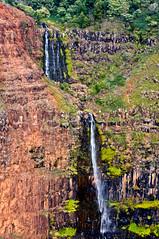 Kauai Waterfall (ChrisInAK) Tags: hawaii adventure aerial brown green interior island kauai remote rock tourism travel tropical tropics vacation vegetation water waterfall