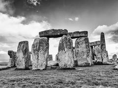 Stonehenge #5 (dibytes) Tags: england blackandwhite unitedkingdom monochromatic unescoworldheritagesite stonehenge april nik 3652012 silverefexpro2