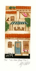 La Casa de mi Tia (Mariann Johansen Ellis) Tags: original windows dog house art ink cat spain doors rooftops streetscene andalucia espana tiles printmaking washing mariann mijas aquatint intaglio inking rejas etchings printmaker johansenellis
