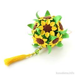 Sunflowers (ronatka) Tags: kusudama origami hananokusudama green yellow brown withbeads square inexplore flowersorigami dropped