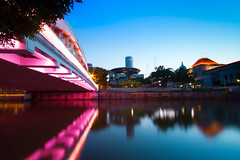 While they were sleeping (Shutter wide shut) Tags: longexposure morning travel bridge reflection dawn twilight singapore nopeople serenity connection boatquay tranquilscene southbridge themorningafter canonefs1022mmf3545usm canoneos7d leendsoftgradfilter thesingaporeparliamenthouse
